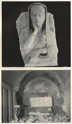 '1. Bust from Palmyrene tomb 2. Underground burial vault'. Syria 1908 print