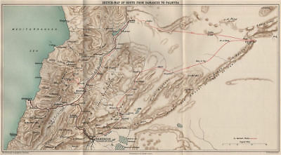 John Kelman's route from Damascus to Palmyra & Beirut. Lebanon/Syria 1908 map