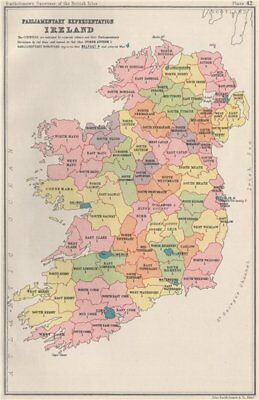 IRELAND Parliamentary representation. Constituencies. BARTHOLOMEW 1904 old map