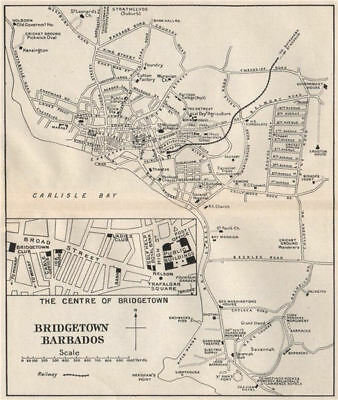 BRIDGETOWN. Vintage town map. Barbados. West Indies. Caribbean 1927 old