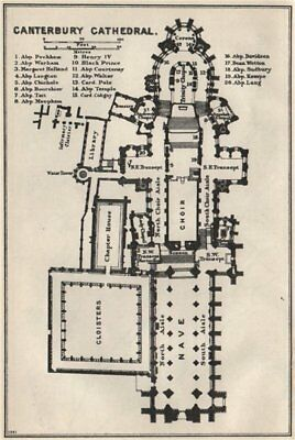 Canterbury Cathedral floor plan. Kent 1957 old vintage map chart