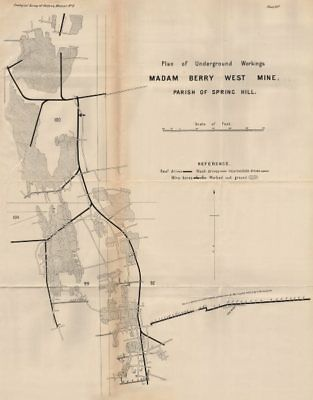 Madam Berry West Mine, Spring Hill. Victoria, Australia. Mining 1909 old map
