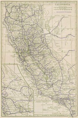 California State Highways. POATES 1925 old vintage map plan chart
