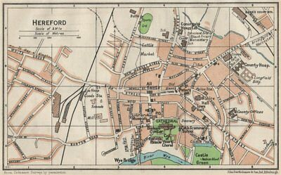 HEREFORD. Vintage town city map plan. Herefordshire 1957 old vintage chart
