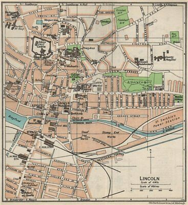 LINCOLN. Vintage town city map plan. Lincolnshire 1957 old vintage chart