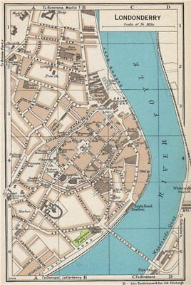 LONDONDERRY. Vintage town city map plan. Ireland 1962 old vintage chart