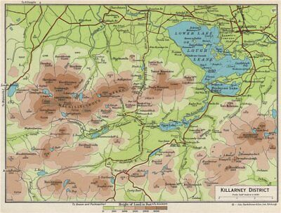 KILLARNEY DISTRICT. Lakes MacGillycuddy's Reeks. Lough Leane 1962 old map