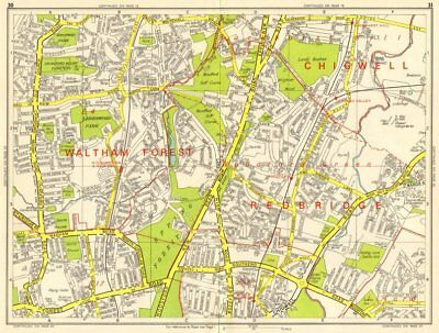 WOODFORD GREEN CHINGFORD Buckhurst Hill Walthamstow. GEOGRAPHERS' A-Z 1964 map