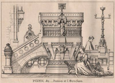 Pulpit &c.; designed by I. Moyr Smith. Decorative 1868 old antique print