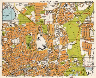 NE LONDON. Walthamstow Highams Park Chapel End Epping Forest. BACON 1968 map