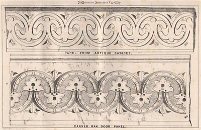 Panel from antique cabinet; carved oak door panel. Decorative 1872 old print