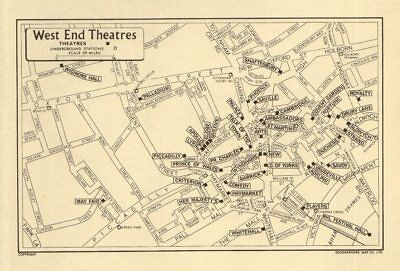 LONDON West End Theatres. GEOGRAPHERS' A-Z 1964 old vintage map plan chart