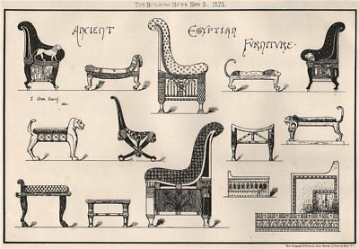 Ancient Egyptian furniture 1875 old antique vintage print picture