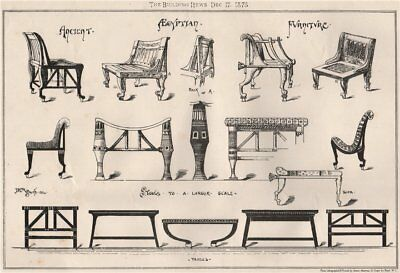 Ancient Egyptian furniture (2) 1875 old antique vintage print picture