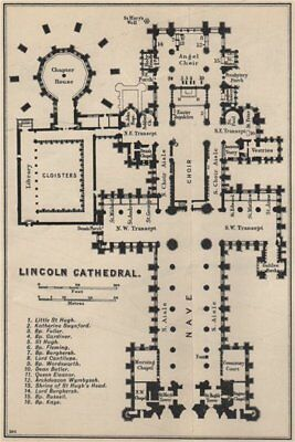 Lincoln cathedral floor plan. Lincolnshire 1939 old vintage map chart