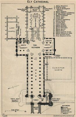 Ely cathedral floor plan. Cambridgeshire 1939 old vintage map chart
