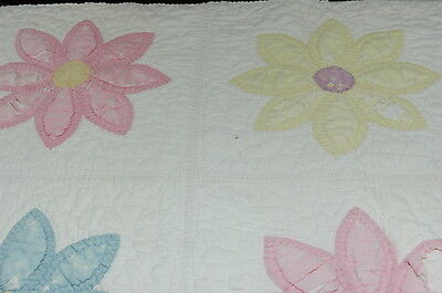 Antique Applique Flower Cotton Patchwork Quilt Cutter Quilt Piece Crafts