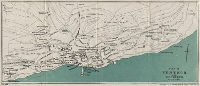 VENTNOR AND BONCHURCH vintage town/city plan. Isle of Wight. WARD LOCK 1922 map