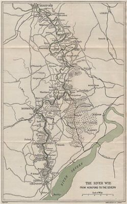 RIVER WYE VALLEY. Hereford-Ross-Monmouth-Chepstow-Severn. WARD LOCK 1917 map