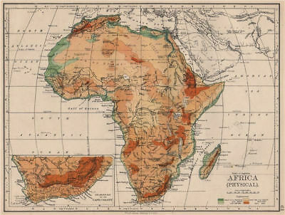 AFRICA PHYSICAL. Relief ocean depths rivers. JOHNSTON 1895 old antique map