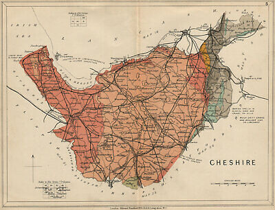 CHESHIRE Geological map. STANFORD 1913 old antique vintage plan chart