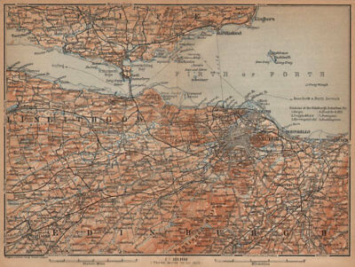 EDINBURGH ENVIRONS. Firth of Forth. Fife Leith Dunfermline. Scotland 1906 map