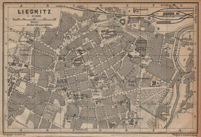 LIEGNITZ LEGNICA antique town city plan miasta. Silesia, Poland mapa 1904