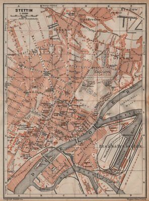 STETTIN SZCZECIN antique town city plan miasta. Poland mapa. BAEDEKER 1904