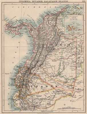 ANDEAN STATES. Colombia Ecuador Panama. States. South America. JOHNSTON 1895 map