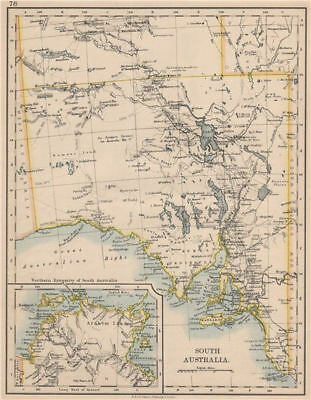 SOUTH AUSTRALIA.Explorer route Sturt Giles Elder Forrest Eyre Tictkins 1895 map