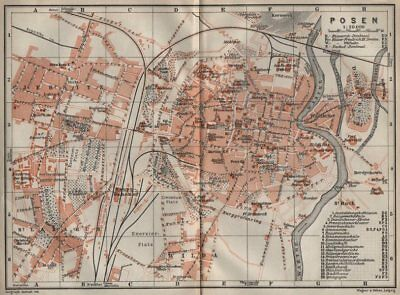 POSEN POZNAN antique town city plan miasta. Pozna?. Poland mapa 1910 old