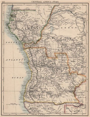 COLONIAL CENTRAL AFRICA. French Congo Free State Portuguese West Af.  1895 map