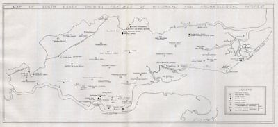 SOUTH ESSEX historical & archaeological sites. Thames Estuary 1931 old map
