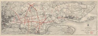 SOUTH ESSEX REGIONAL PLAN. Proposed new roads & road widening 1931 old map