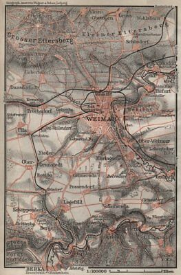 WEIMAR environs/umgebung. Thuringia. BAEDEKER 1910 old antique map plan chart