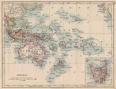 COLONIAL OCEANIA PACIFIC.British Dutch Spanish French German Port. 1895 map