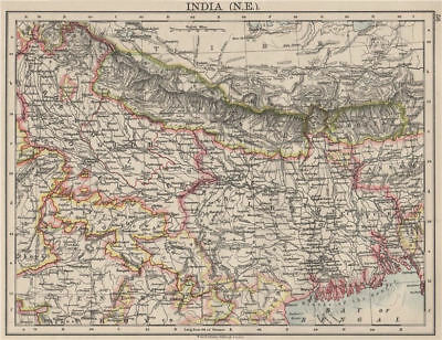 BRITISH INDIA NE. Bengal Nepal Bhutan Calcutta Bangladesh. JOHNSTON 1900 map