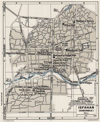 ISFAHAN vintage town/city plan. Iran 1956 old vintage map chart