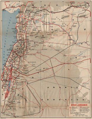 SYRIA & JORDAN pre-1967 war borders including West Bank/Golan Heights 1956 map