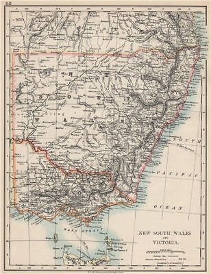 NEW SOUTH WALES & VICTORIA. Shows railways telegraph cables. Australia 1903 map