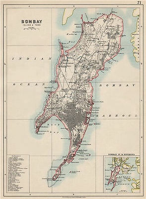 BOMBAY ISLAND. City connected by Zion causeway. Mumbai. JOHNSTON 1903 old map