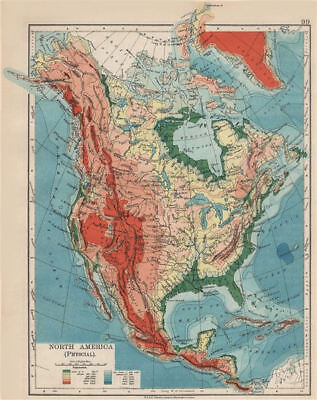 NORTH AMERICA PHYSICAL. Relief. Key mountains heights. Ocean depths  1903 map