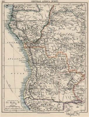 COLONIAL CENTRAL AFRICA. French Congo Free State Portuguese West Af.  1900 map
