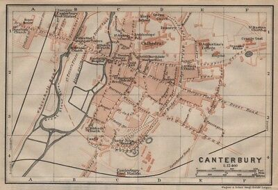 CANTERBURY antique town city plan. Kent. BAEDEKER 1906 old map chart