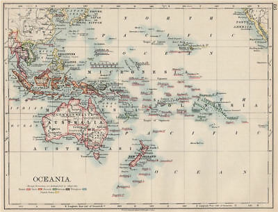 COLONIAL OCEANIA PACIFIC.British Dutch Spanish French German Port. 1903 map
