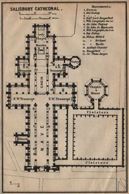 SALISBURY CATHEDRAL ground floor plan. Wiltshire 1906 old antique map chart