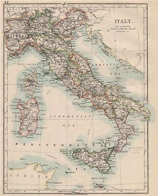 ITALY. Showing states/territorial divisions. JOHNSTON 1903 old antique map