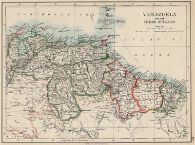 VENEZUELA / GUIANAS. Suriname. British French Dutch Guyana.  JOHNSTON 1903 map