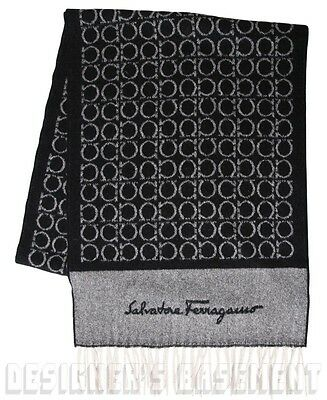 SALVATORE FERRAGAMO black GANCINI 100% Cashmere Long FRINGE scarf NWT Authentic!