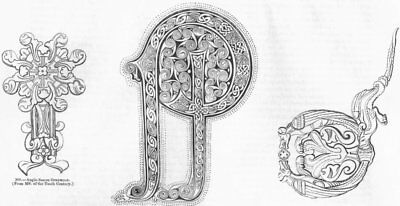 SAXONS. Ornaments & letters(8th & 10th Century) 1845 old antique print picture